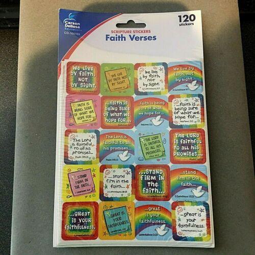 """New Scripture 120 Faith Verses Stickers Carson Dellosa Bible Christian 1x1""""each"""