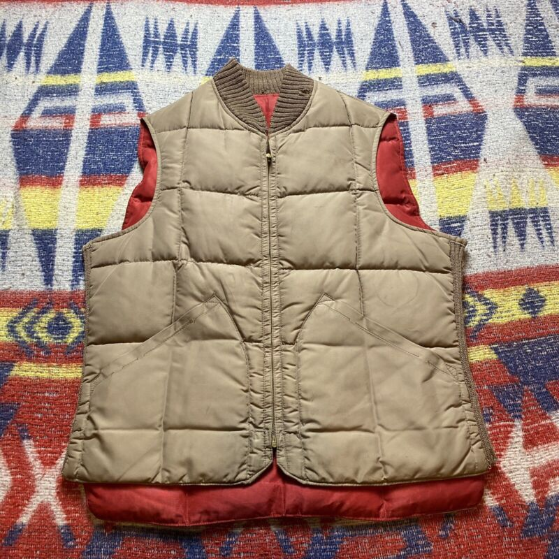 1960s Vintage Down Filled Reversible Quilted Puffer Vest M Beige/red