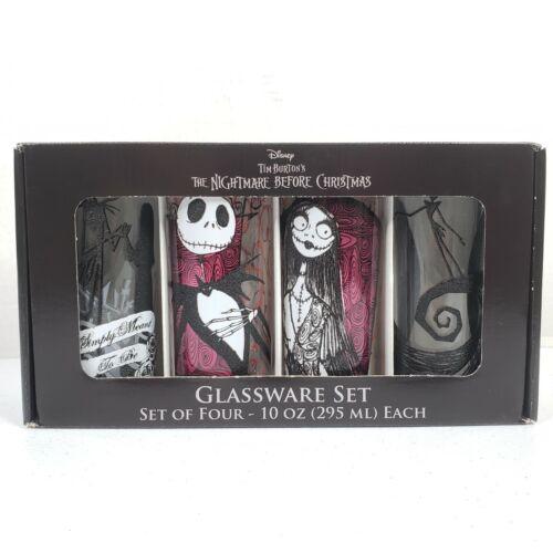 Disney Tim Burton The Nightmare Before Christmas Set of 4 Glassware Glasses NEW