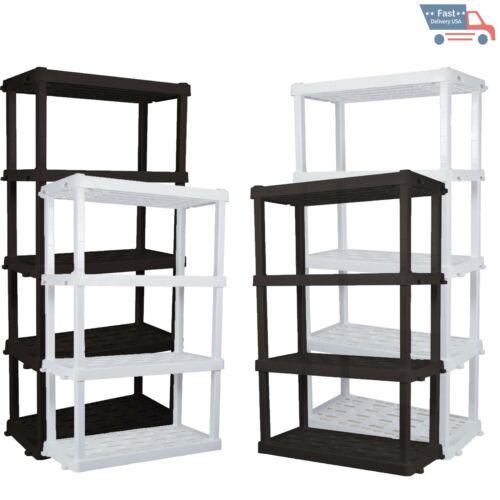 5 Tier Plastic Garage Shelving Unit Sturdy Adjustable Storage Shelf Rack Shelves