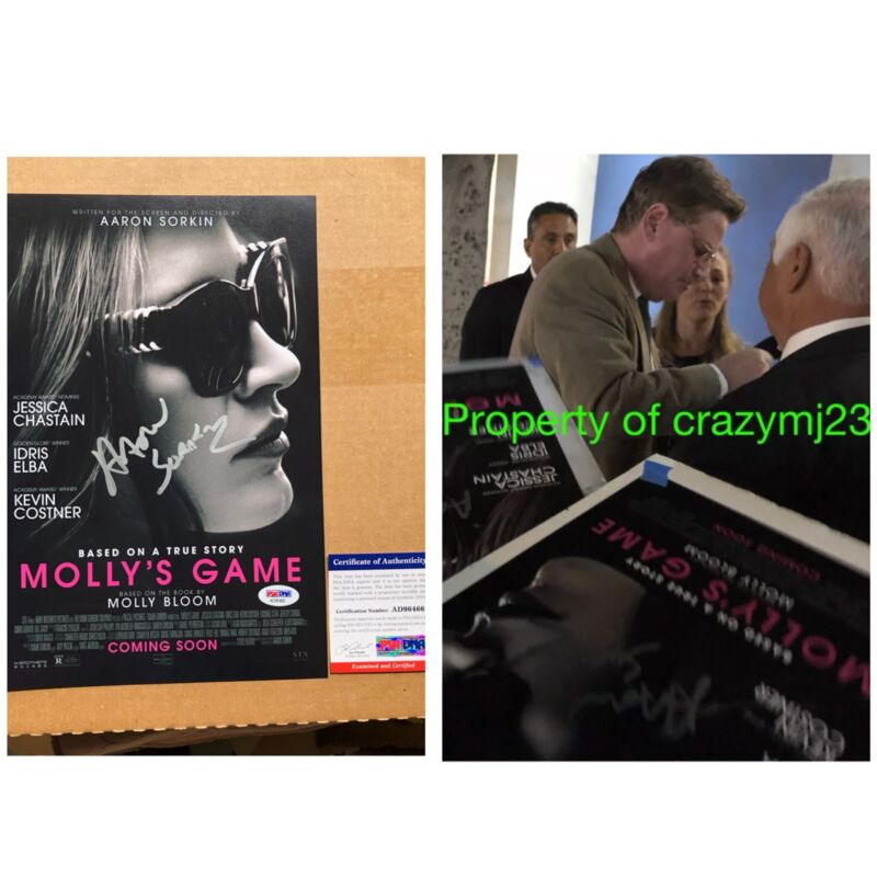 Aaron Sorkin Signed Molly's Game The West Wing Moneyball Autograph Auto PSA COA