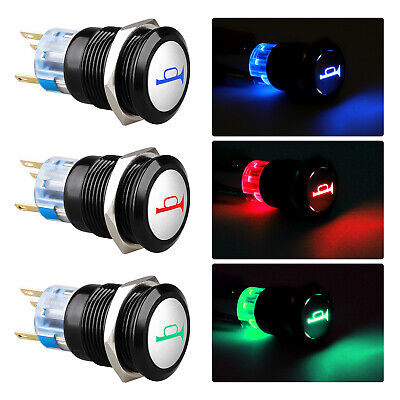 19mm 12v Led Horn Symbol On-off Car Push Button Switch Latch Metal Waterproof