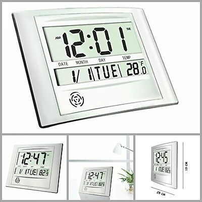 Battery Operated Digital Wall Clock With Temperature Calendar Snooze 12