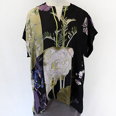 Citron Clothing Japanese Flowers Silk Butterflies Blend Tunic Blouse Plus 1X - Butterflies Clothing
