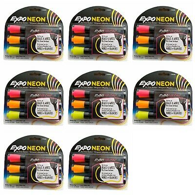 Lot Of 8 Expo Neon Dry Erase Markers Bullet Tip Pink Orange Yellow 24 Markers
