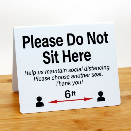 """Social Distancing Signs """"Do Not Sit Here"""", Plastic, 24pk, Free Shipping"""