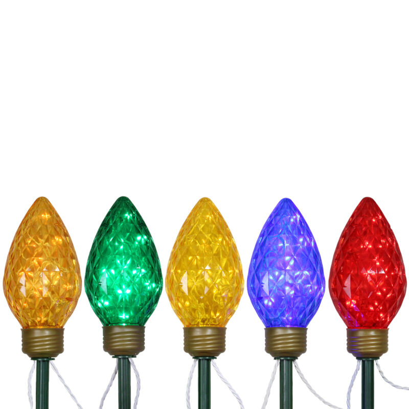 Northlight 5 LED Jumbo C9 Bulb Christmas Pathway Marker Lawn Stakes -Multi-Color