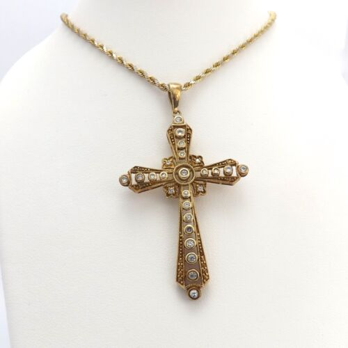 Sterling Silver Gold Vermeil Cubic Zirconia cz Cross Pendant Chain Necklace