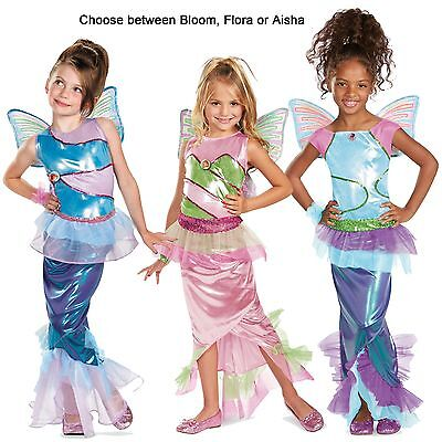 Child TV Show Winx Club Mermaids Deluxe Bloom Flora Aisha Mermaid Dress Costume - Winx Costume Bloom