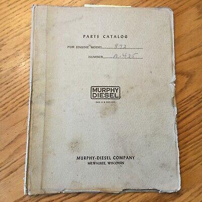Murphy 872 Diesel Engines PARTS CATALOG MANUAL BOOK GUIDE LIST V-8 CYLINDER