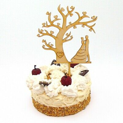 Tortenstecker mit Brautleute personalisiert, Herzbaum, Cake Topper für Hochzeit
