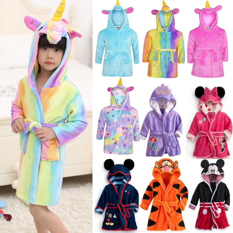 Kinder Jungen Mädchen Bademantel Cartoon Bathrobe Fleece Nachtwäsche Pajamas