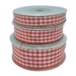 Gingham Ribbon - Woven edge, Full roll (10 Yards)choose width and colour