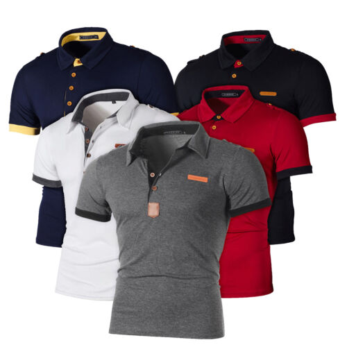 Herren Sommer T-Shirt Slim Fit Poloshirt Kurzarm Shirt Golf Freizeit Muskel Tops