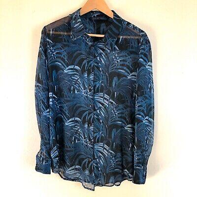 House of Hackney Silk Sheer Black Tropical Palm Leaf Print Blouse Top Size 14