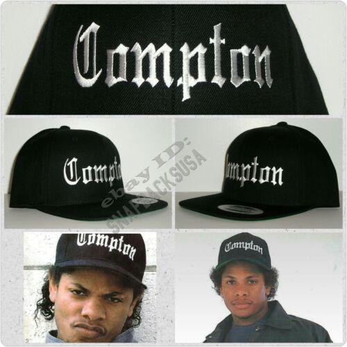 NEW Black Eazy E Compton Snapback Hat Cap NWA Straight Outta Authentic Replica