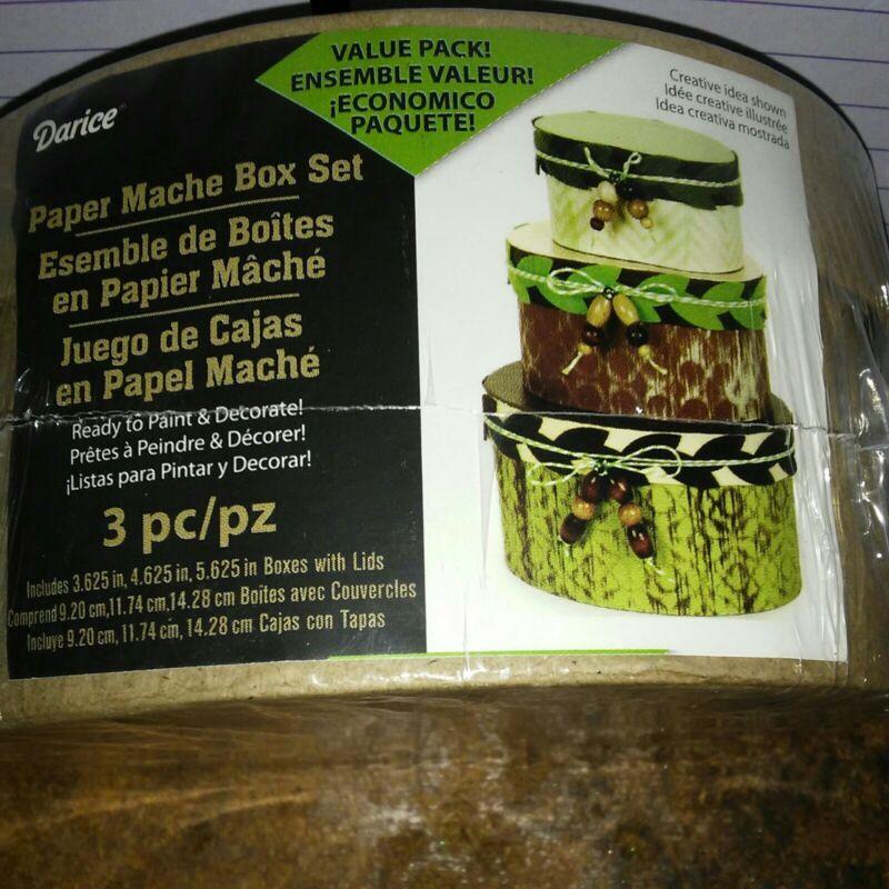 Darice 3pcs Oval Paper Mache Box Set