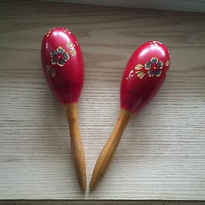Pair of Vintage Wooden Maracas(1960) Mexico