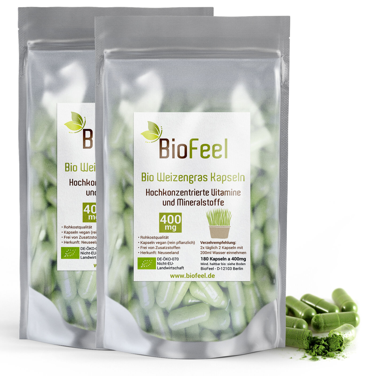 BioFeel - Bio Weizengras Kapseln, 360 Stk., 400mg (2x 180 Stk.)