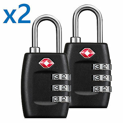 Approved Lock - BG TSA Approved Lock Travel Luggage 3 Combination Resettable Padlock TL01-PAIR