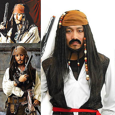 NEW Pirates of the Caribbean Jack Sparrow Wig Headband Costume Cosplay Set (Pirates Of The Caribbean Jack Sparrow Costume)