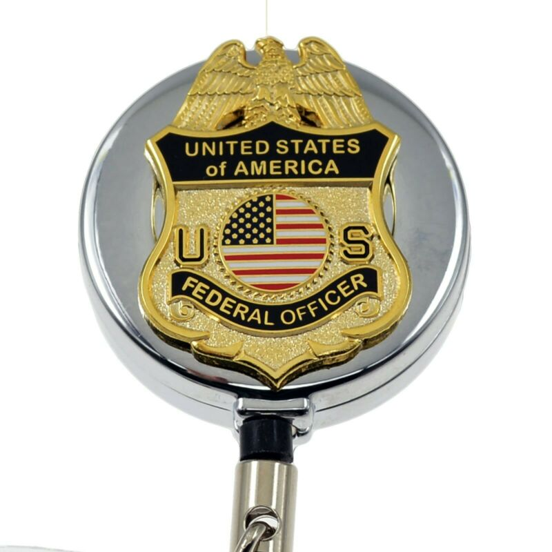 US Federal Officer Badge Reel Retractable Security ID Holder Lanyard Chrome
