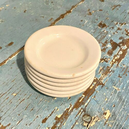 "6 Vintage White Ironstone Butter Pats 3.5""  Farmhouse Restaurant Wisconsin"