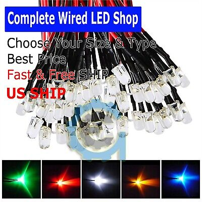 Pre Wired 12 Volt Leds 12v Led - Built-in Resistors All Colorssizes Usa