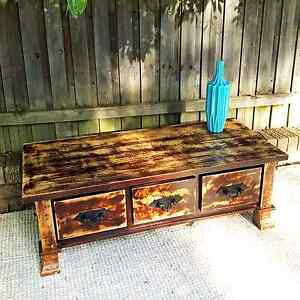 Large Distressed Mango Wood Hardwood Coffee Table W Drawers Coogee Eastern Suburbs Preview