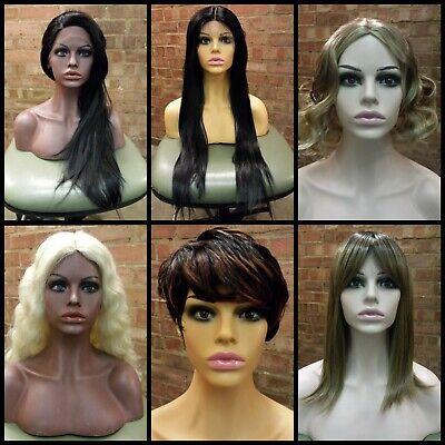 Fiberglass Female Mannequin Shop Display Head Half Bust Shoulders Wig Scarf