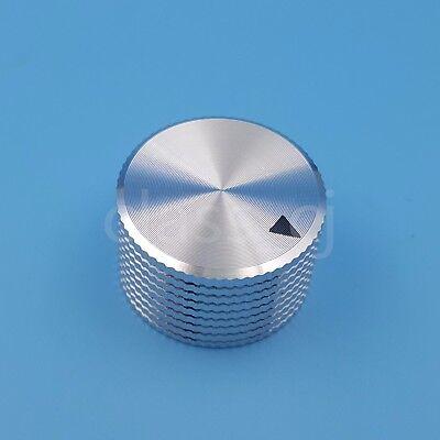 (Silver Aluminum 25 x 15.5mm Volume Potentiometer 6.4mm 1/4'' Audio Rotary Knob)