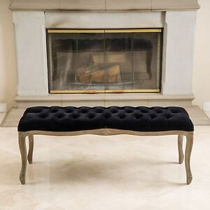 French Design Weathered Wood Black Fabric Ottoman Bench w/ Tufted Seat Top
