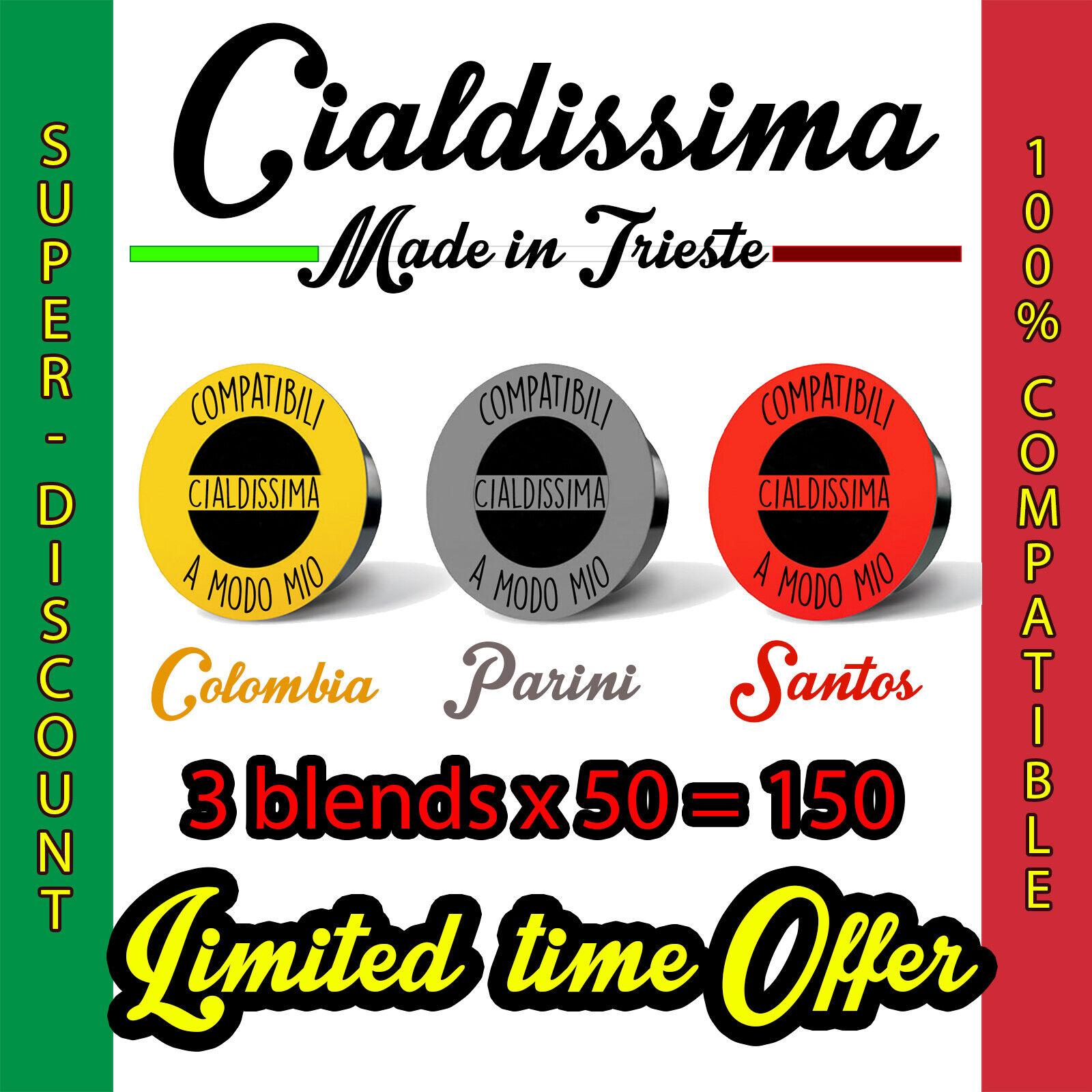 cialdissima 150 CAPSULES COMPATIBLE LAVAZZA A MODO MIO COFFEE! ITALIAN ESPRESSO! THREE DIFFERENT BLENDS! 3x 50 MIXED PACK