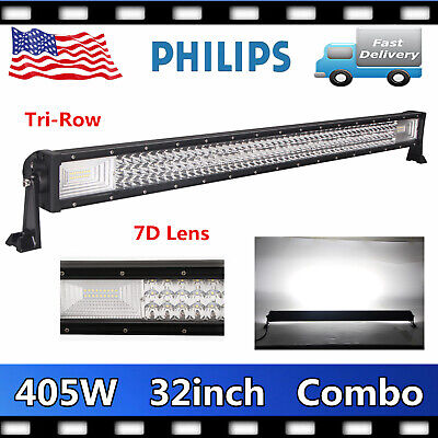 32INCH 405W LED Work Light Bar Tri-Row 7D Lens Combo Vehicle SUV Truck VS 180W