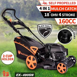 "Buy New Black Eagle 18"" Self-Propelled Lawn Mower with 4 Stroke"