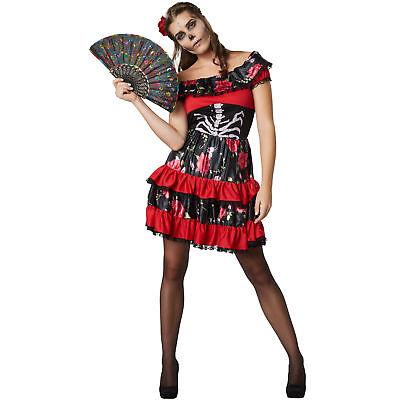 Kostüm Damen Skelett Señorita Fasching Karneval Halloween Kleid  Zombie (Sexy Zombie)