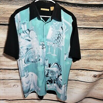 The Havanera Co Mens Size Large Martini Drinking Cocktails Shirt Hawaiian