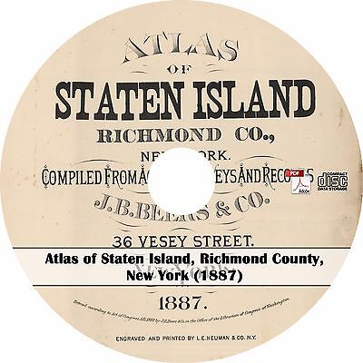 1887 Atlas of Staten Island, Richmond County, New York - Plat Maps Book on CD