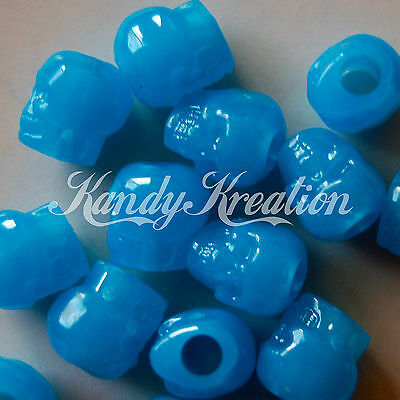 100 Blue Glow in the dark Skull pony bead for kandi craft Paracord Day of dead