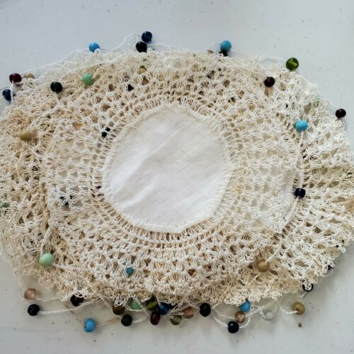 Vintage Crochet Linen Beaded Coasters SET OF & 8 - 6 Inches Round
