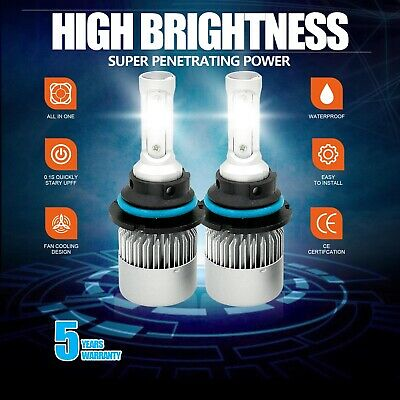 New 9004 HB1 LED Headlight 3-Sided Bulbs High&Low Beam 1915W 287250LM 6000K 2Pcs ()