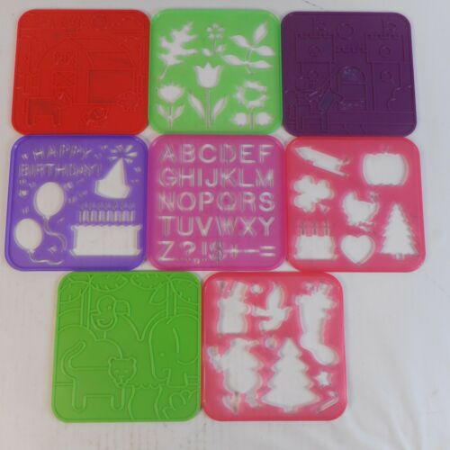 Vintage Tupperware Tupper Toys Lot of 8 Stencils Alphabet Animals Shapes Plants