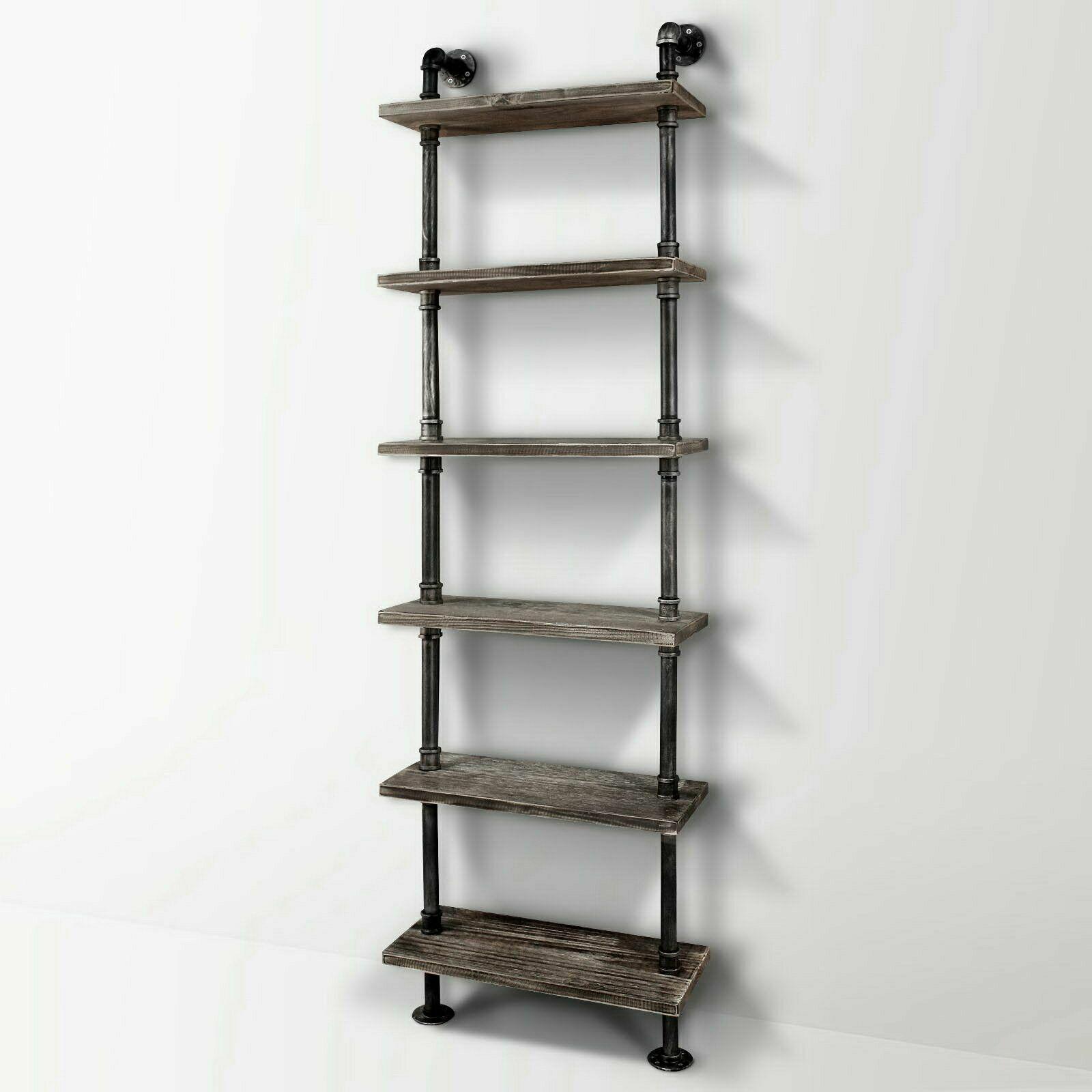 6 Level Rustic Ladder Bookshelf Diy Pipe Display Shelf Cabinet Industrial Wooden Ebay