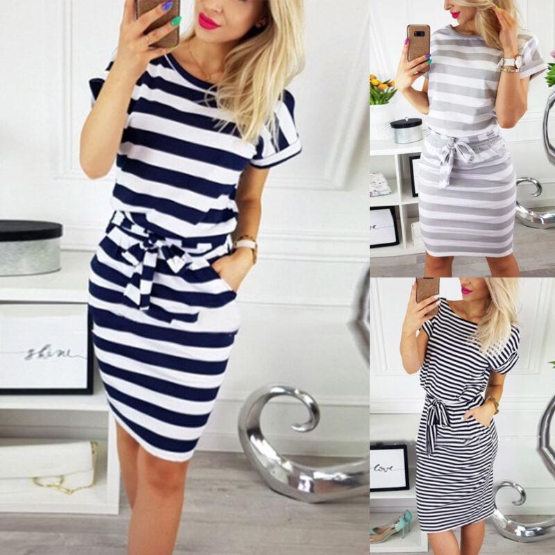 Damen Shirtkleid Hemdkleid Gestreift Freizeitkleid Sommerkleid Tunika Kleider DE