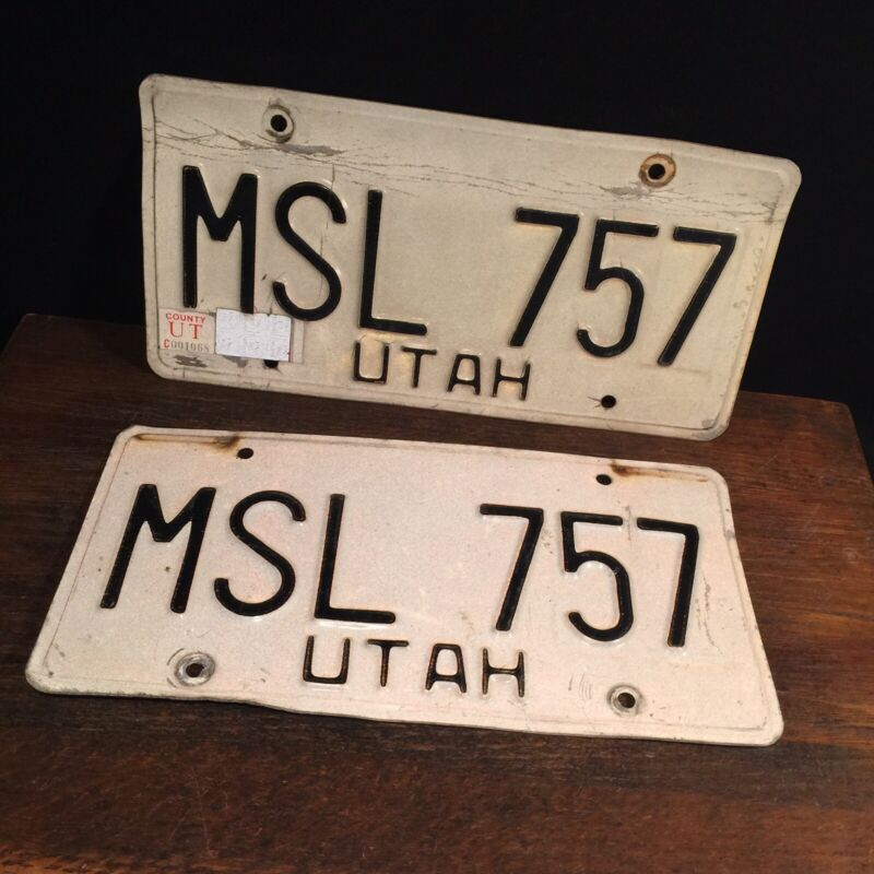 Vintage Utah Lincense Plate Pair Tags Plates Vehicle Transportation MSL 757
