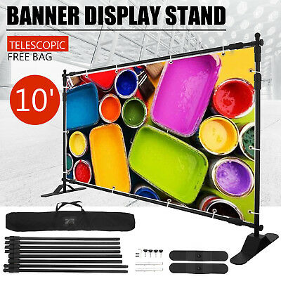 10x8 Step And Repeat Backdrop Telescopic Banner Stand Trade Show Adjustable