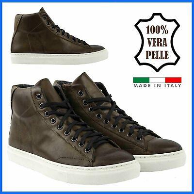 Scarpe da Uomo Sneakers in Pelle Alte Stivaletti Invernali Eleganti Marrone Zip
