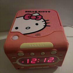 Hello Kitty CD Player Am/Fm Radio Alarm Clock Pink White KT2053A Sanrio - TESTED