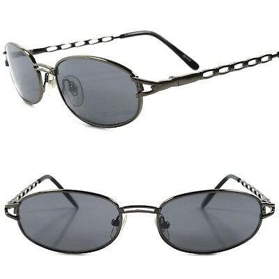 True Vintage 90s Unique Design Urban Fashion Mens Gunmetal Rectangle Sunglasses