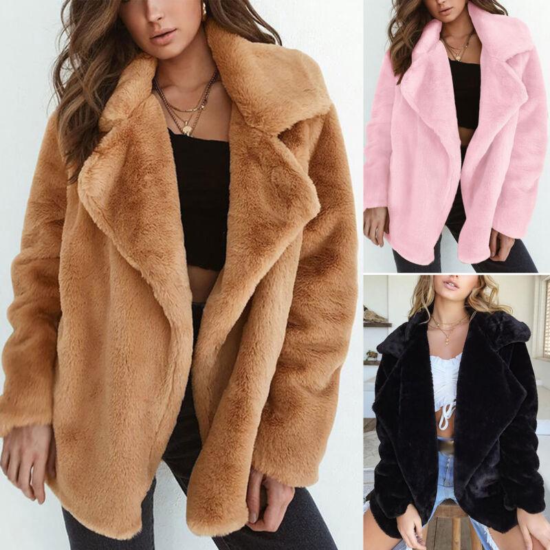 Womens Fashion Faux Fur Teddy Bear Jacket Ladies Loose Fit C